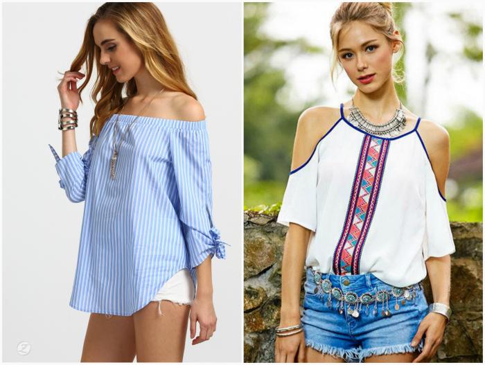Блузы и топы с открытыми плечами.