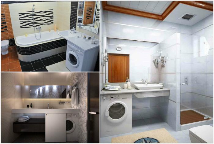 Ванная - место для стиральной машины.