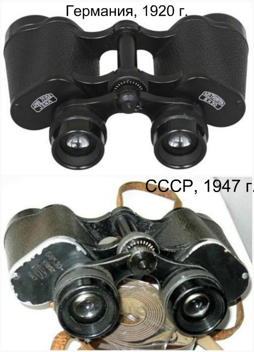 Carl Zeiss Jena Deltrintem 8×30, Германия 1920 года и Б8×30, СССР 1947 года.