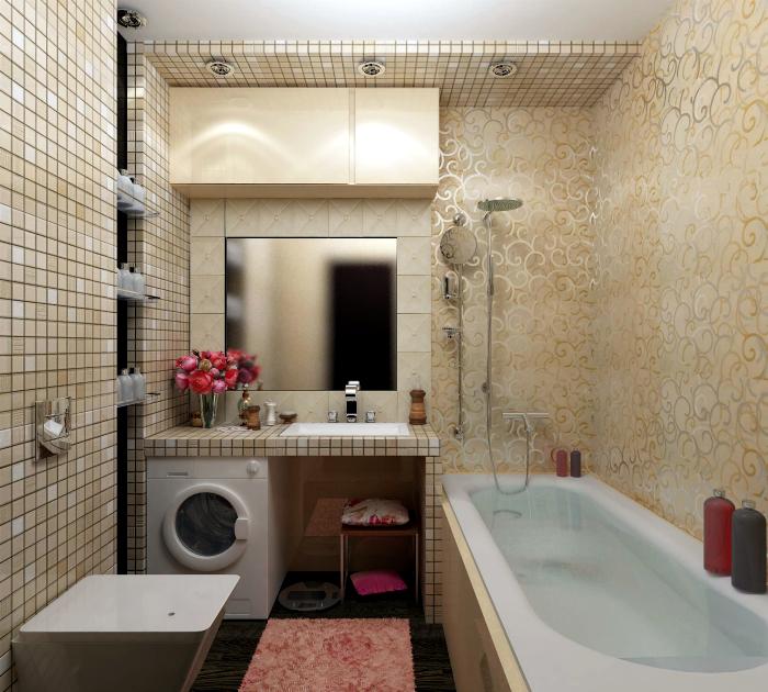 Ванная комната в бежево-золотистых оттенках.