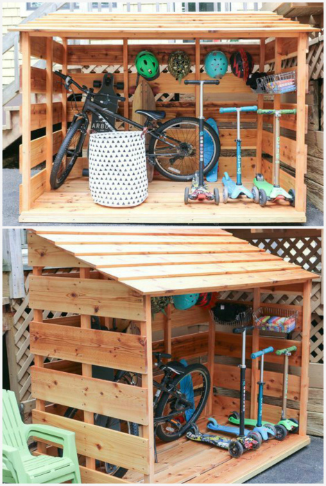 Гараж для велосипедов. | Фото: Pinterest.
