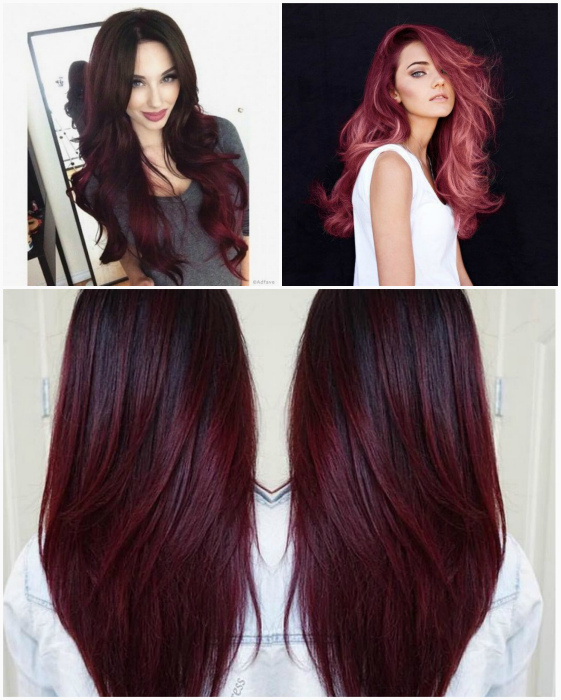 Волосы, окрашенные в вишневые оттенки.