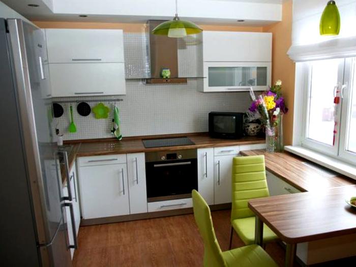 Кухня с оригинальным угловым столом. | Фото: Pinterest.