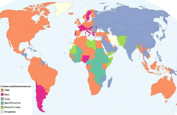 Карта, демонстрирующая алкогольные предпочтения жителей разных стран.