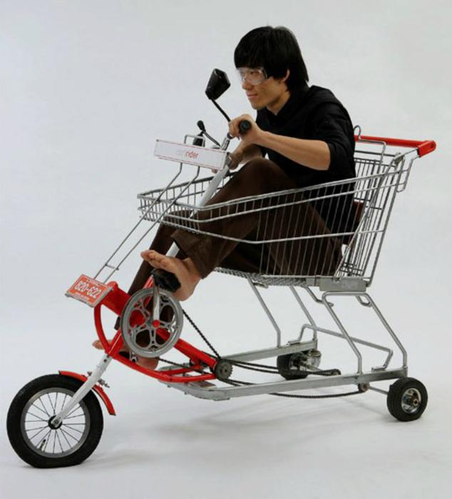Гибрид велосипеда и тележки из супермаркета.