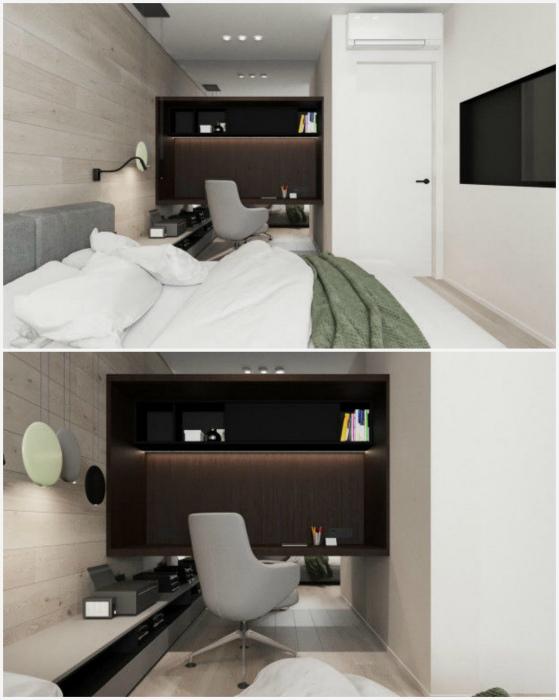 Спальня с эффектом бесконечного пространства. | Фото: Pinterest.