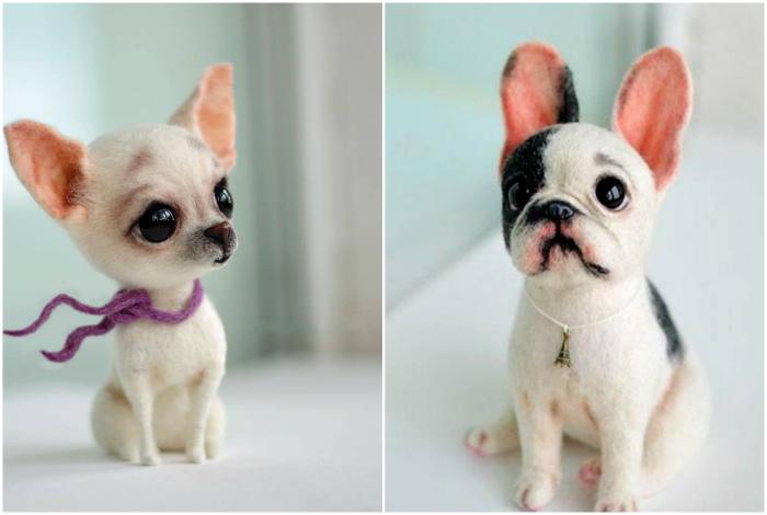 Фигурки собак из войлока.