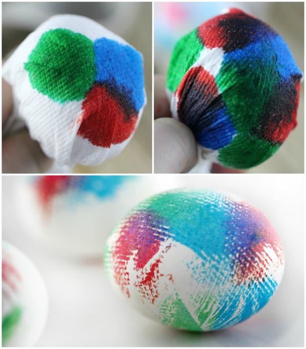 Текстурные рисунки на яйцах.