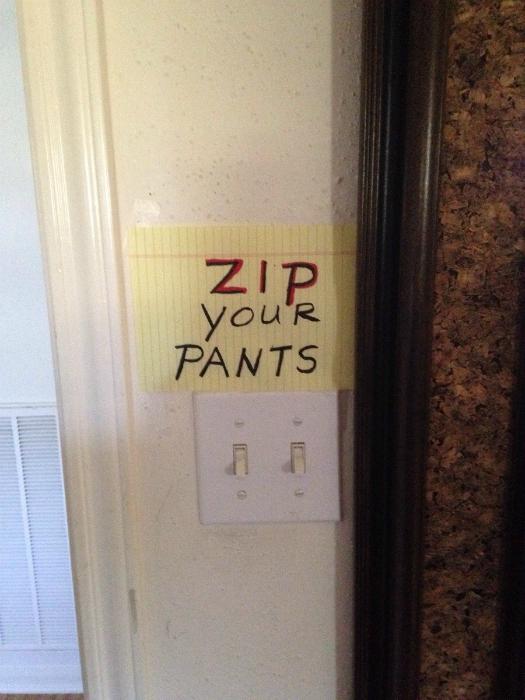 «Застегни штаны».