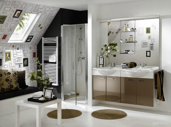 Стильный дизайн небольшой ванной комнаты.