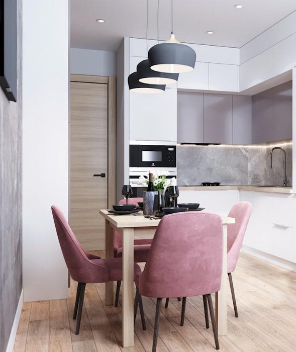 Элегантная светлая кухня. | Фото: Kuhnov.Ru.