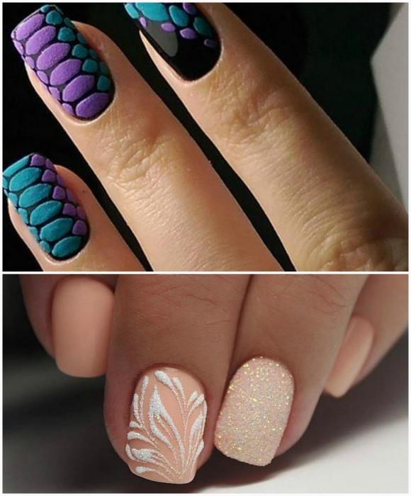 Матовые и бархатные рисунки на ногтях.
