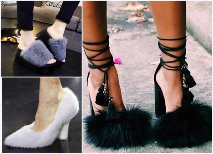 Туфли, босоножки и шлепки, украшенные мехом.