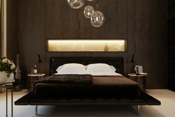 Завораживающая спальня в темных тонах.