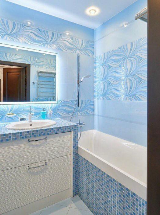 Ванная комната в голубых оттенках.