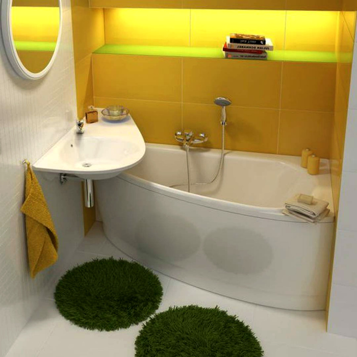 Бело-желтая ванная комната.