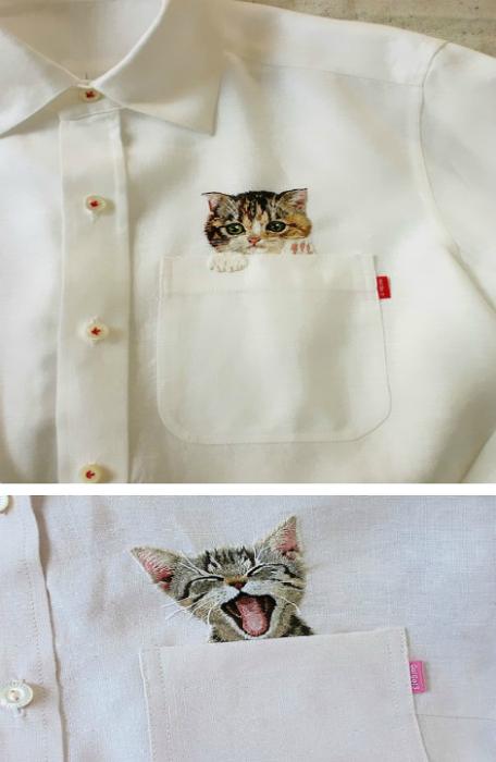 Стильная мужская рубашка с вышитым изображением кошки.