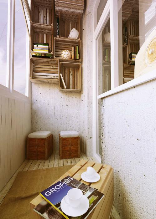 Простой дизайн уютной лоджии.