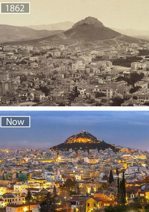 Афины в 1862-ом и в наши дни.