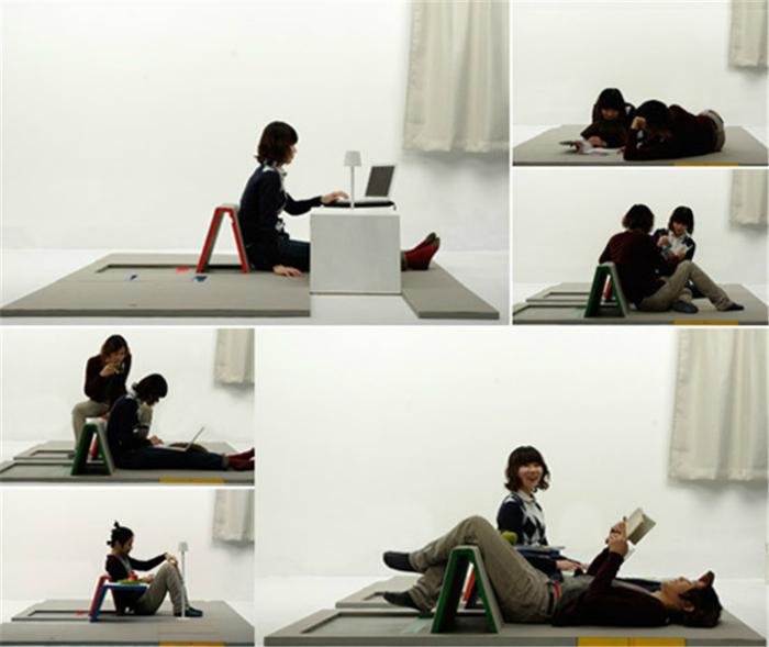 Уникальный ковер Land Peel может превращаться в диван, стол, стул или скамейку.