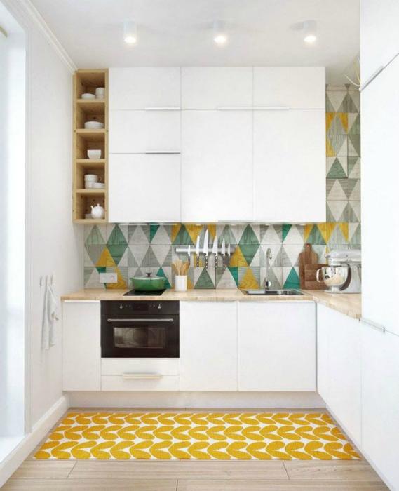 Геометрические узоры на кухне.