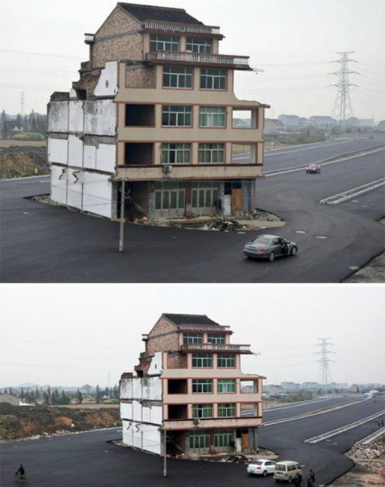 Дом в центре автомагистрали.