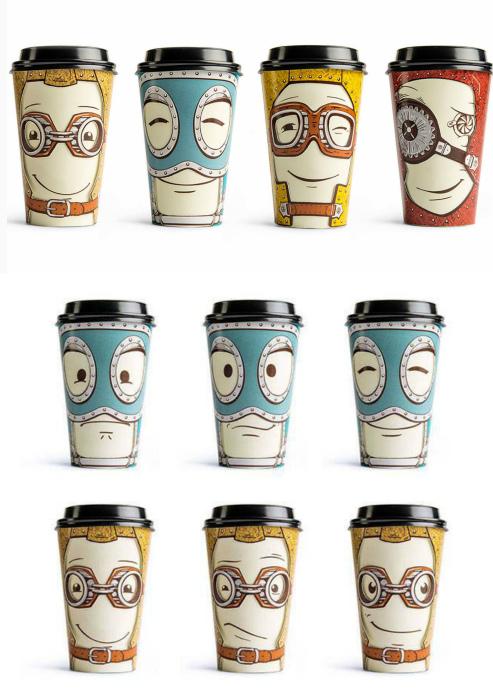Кофейные стаканы с «настроением». | Фото: Abduzeedo.