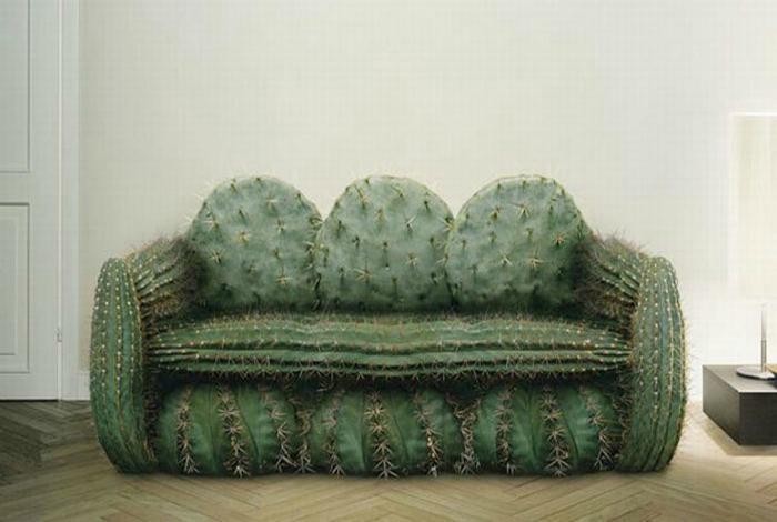 Мягкий диван в виде кактуса от дизайнерской студии United.