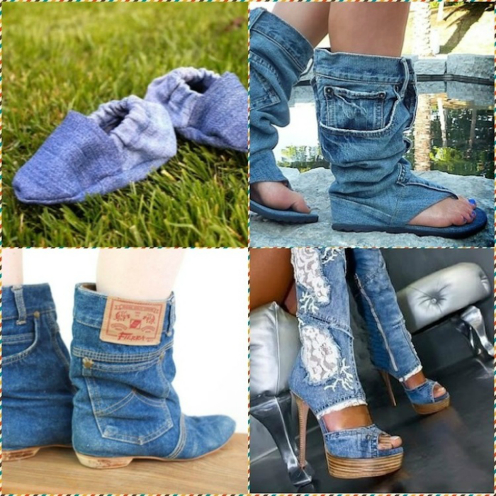Модная обувь из лоскутов старых джинсов.