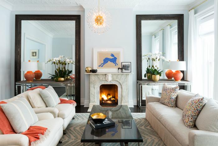 Interior elegante de una pequeña sala de estar.