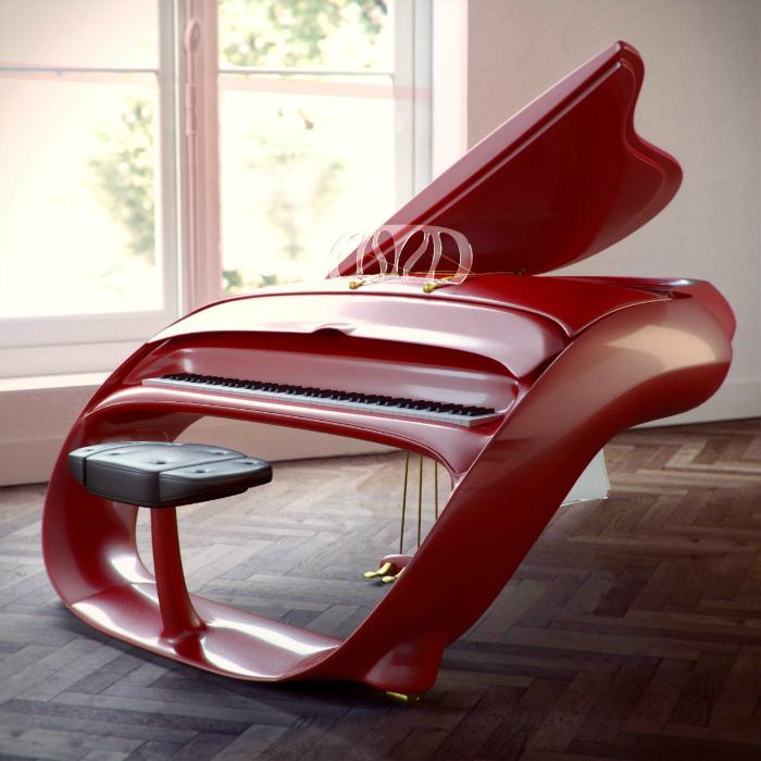 Футуристический красный рояль. | Фото: BigWall.ru.