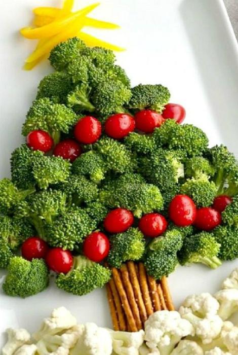 Овощи, выложенные в виде елки.