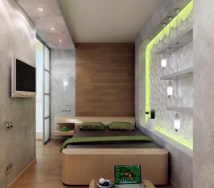 Крошечная спальня в стиле эко.