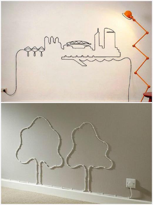 Декор стен проводами.