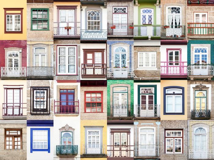 Окна города Гимареш, Португалия.