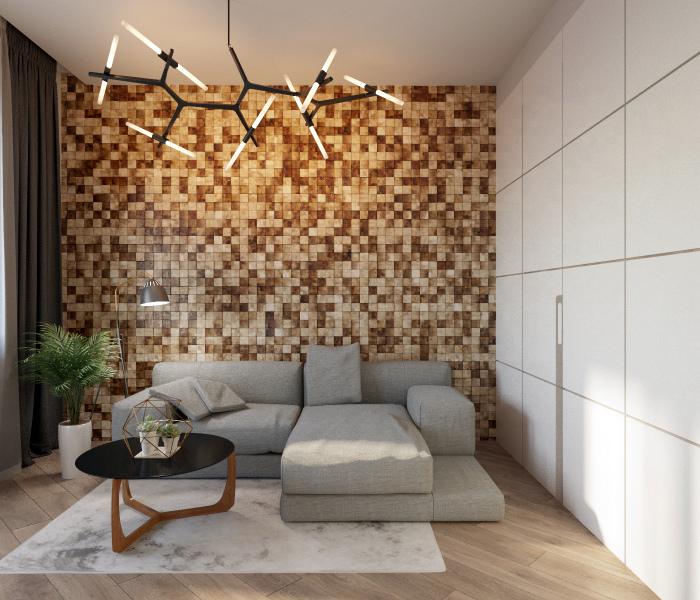 Гостиная с креативной акцентной стеной.