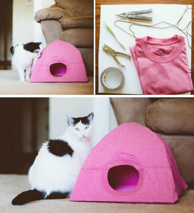 Самодельный кошачий домик. | Фото: www.nieuwsreporter.com.