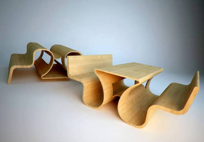Эта замысловатая конструкция, может быть двумя лавками и столиком или двумя отвернутыми друг от друга лавками.