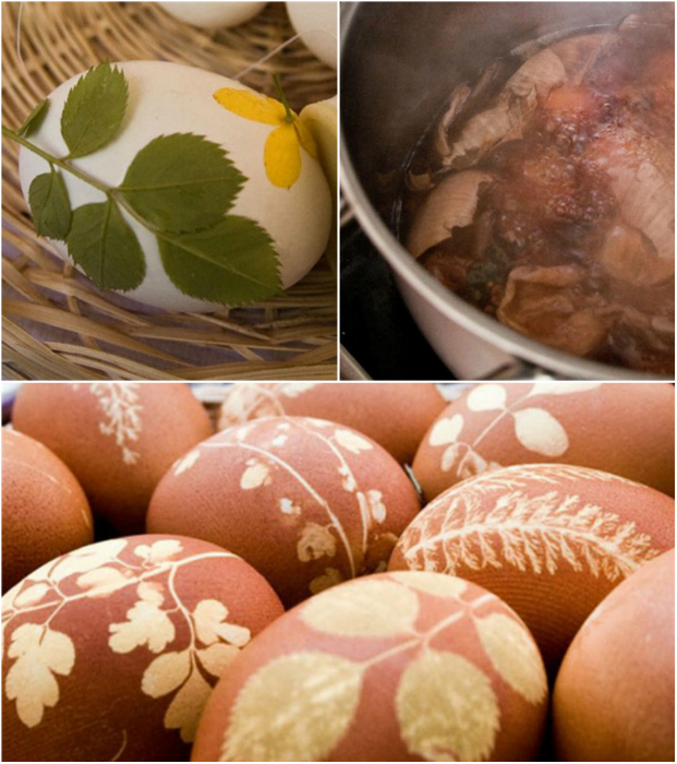 Простой способ оригинально украсить яйца с помощью растений и луковых шкурок.