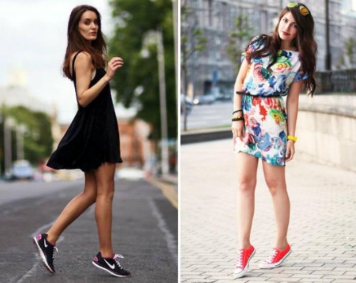 Сочетание платья и кед. | Фото: Womanadvice.ru.