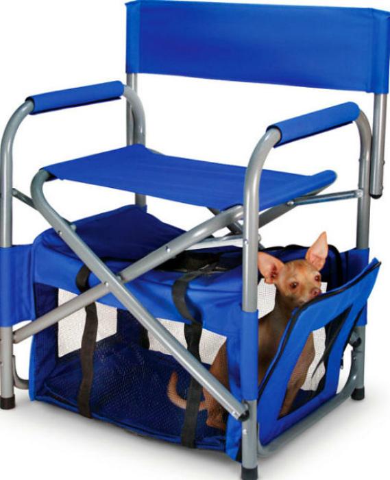 Походный стул с местом для собаки.