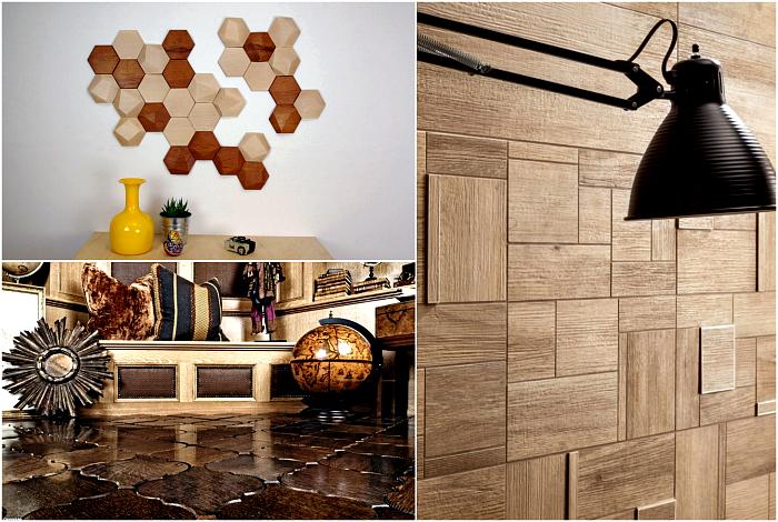 Деревянная плитка вместо досок и панелей.