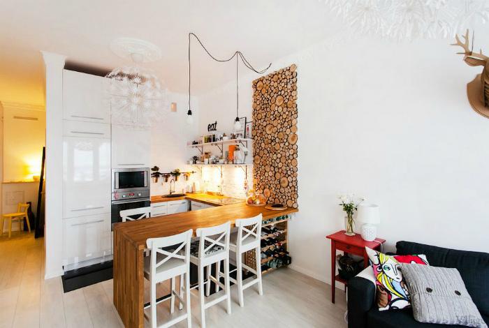 Кухня-гостиная с элементами эко-стиля.