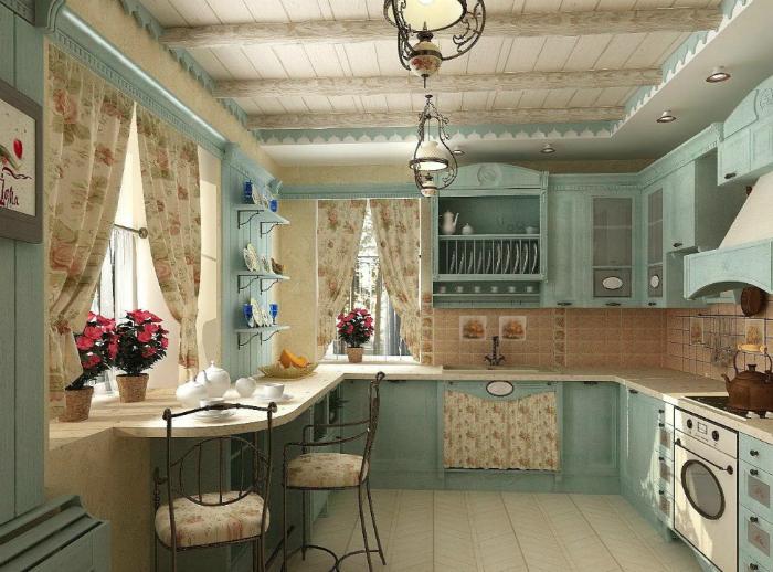 Уютная кухня в светлых тонах с изящной мебелью, легкими занавесками, украшенными цветочным принтом, и множеством элементов декора.