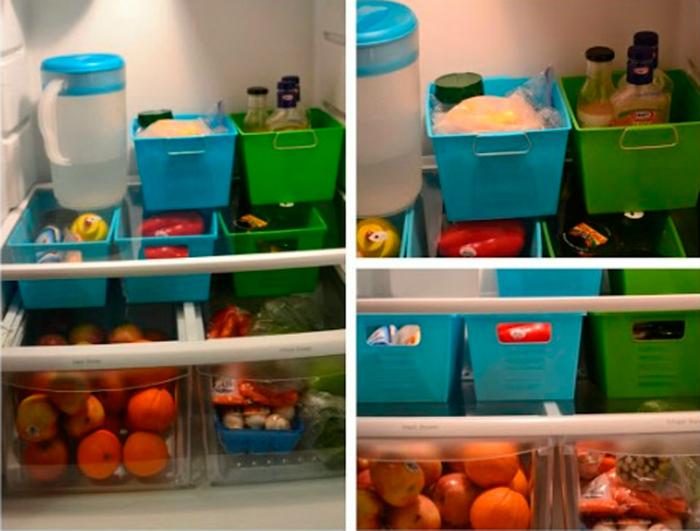Используйте пластиковые контейнеры для сортировки продуктов в холодильнике.