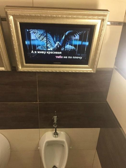 Телевизор в туалете.