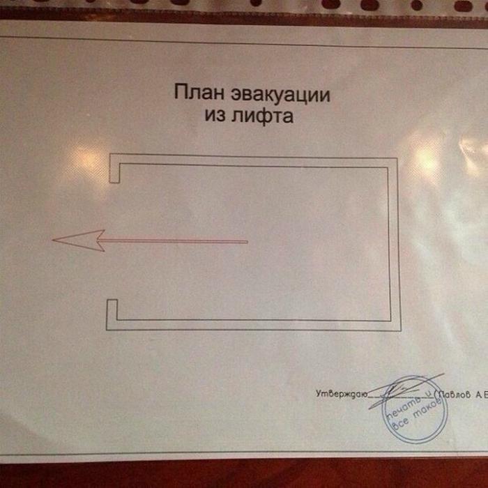 Сложный план эвакуации.