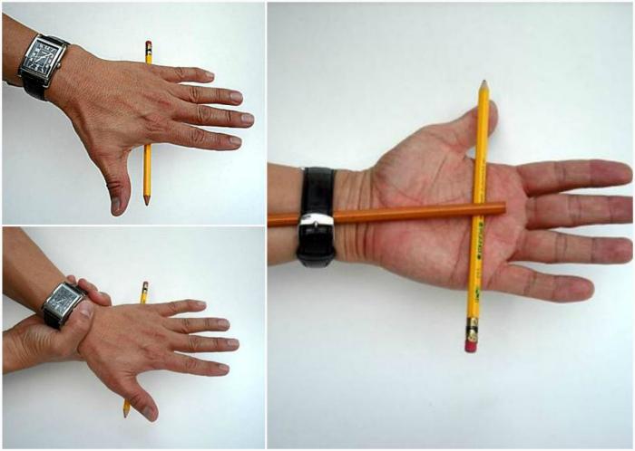 Перемещение карандаша ладонью.