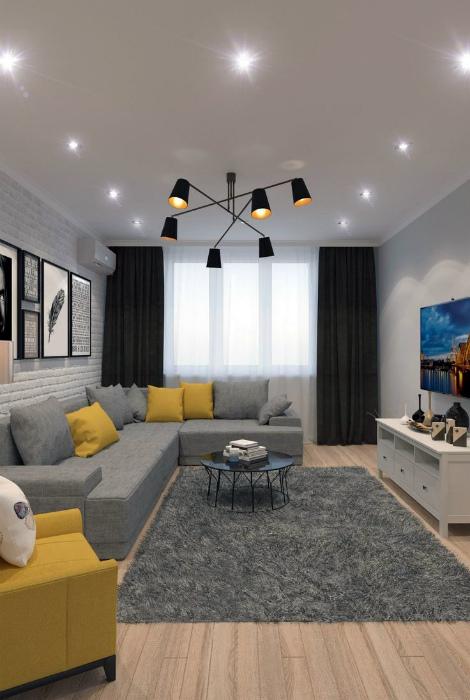 Современная гостиная с элементами минимализма.