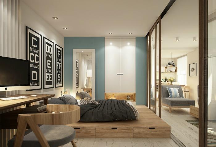 Спальня в однокомнатной квартире.